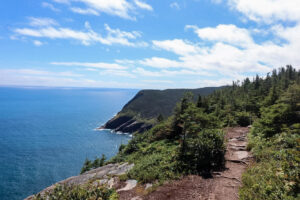 Hiking trail on a cliff face by the ocean