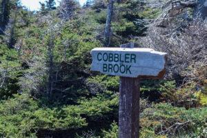 """A wooden sign that reads """"Cobbler Brook"""""""