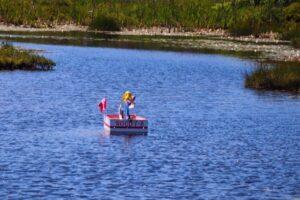 Wooden Boat Floating in Belchers Marsh